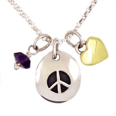 Far Fetched Sterling Peace Sign Charm Necklace