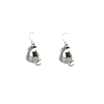Far Fetched Sterling Silver Moonbeam Kitty Earrings