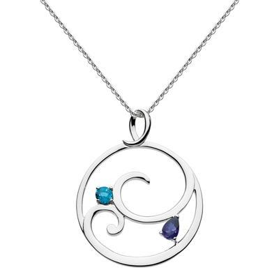 Kit Heath Sterling Silver Norah Shine London Blue Topaz & Iolite Necklace