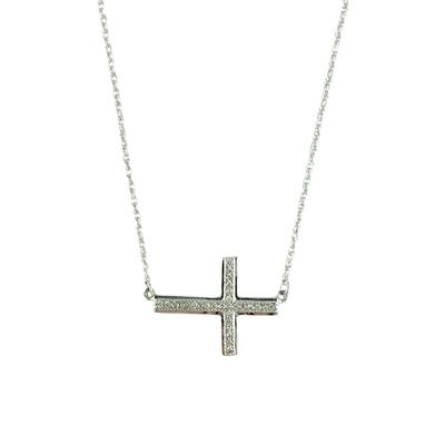 Elsa M Sterling Silver And Diamond Sideways Cross Necklace