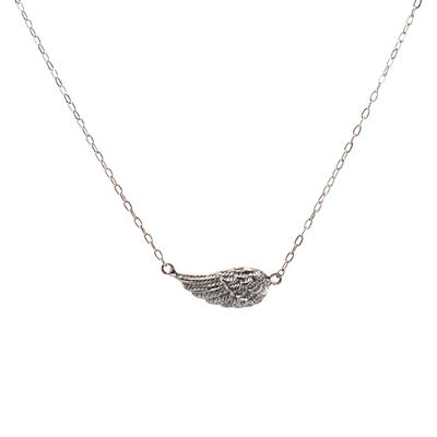 Mimi & Marge Tiny Sterling Silver Single Wing Necklace