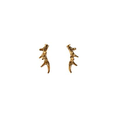 Mimi & Marge Small Gold Vermeil Antler Studs