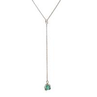 Mimi & Marge Sterling Silver Emerald Y Necklace