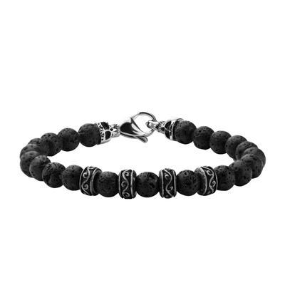 Inox Men's Stainless Steel & Lava Stone Bracelet