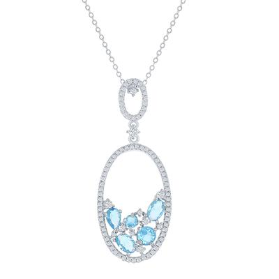 Sterling Silver & Light Blue Cz Open Oval Necklace
