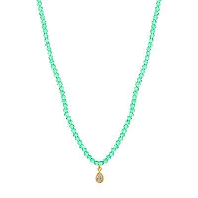 Green Crystal And Gold Cz Teardrop Choker