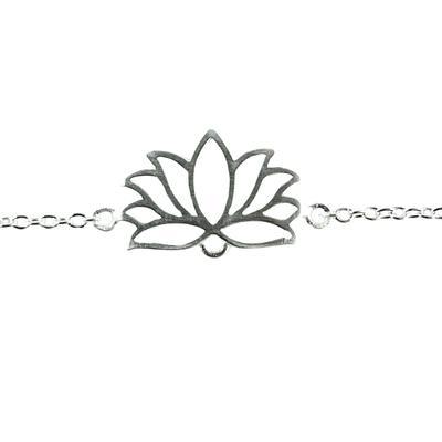 Tashi Brushed Sterling Silver Mini Lotus Bracelet