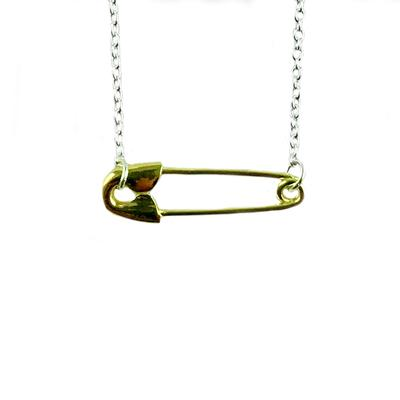 Tashi Gold & Sterling Silver Safety Pin Necklace