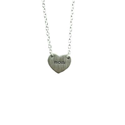 Tashi Brushed Sterling Silver Mom Heart Necklace