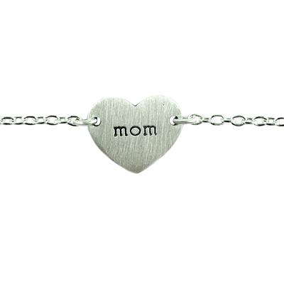 Tashi Brushed Sterling Silver Mom Heart Bracelet