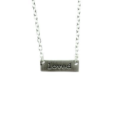 Tashi Brushed Sterling Silver Loved Tag Necklace