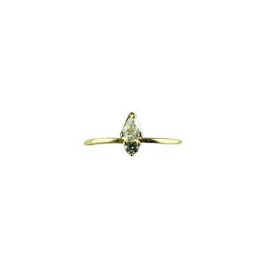 Dainty Gold & Cz Marquis Ring