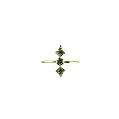 Dainty Gold & Cz Geometric Ring