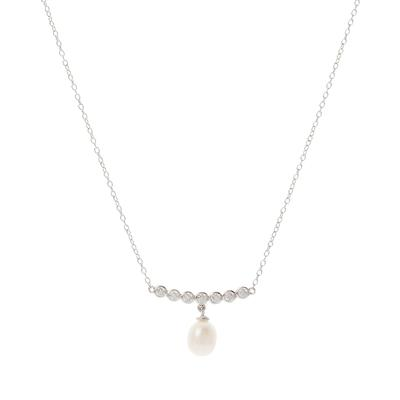 Sterling Silver, Cz & Pearl Drop Bar Necklace