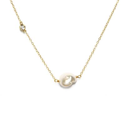 Gold, Cz & Pearl Drop Necklace