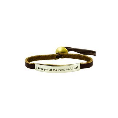 I Love You To The Moon & Back Alpaca Metal Leather Bracelet