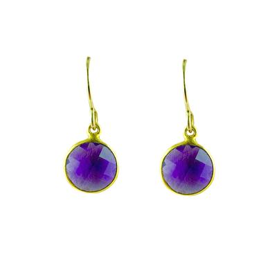 Jo Lupton Golden Amethyst Coin Earrings