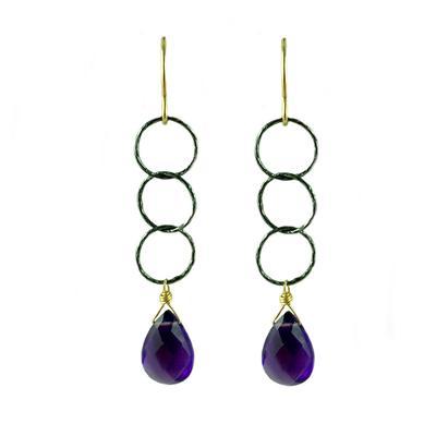 Jo Lupton Amethyst & Oxidized Silver Chain Drop Earrings