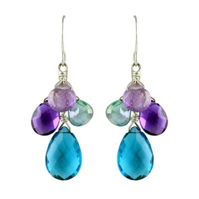 Jo Lupton Faceted Blue Quartz Cluster Earrings