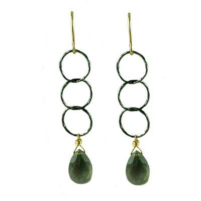 Jo Lupton Labradorite & Oxidized Silver Chain Drop Earrings