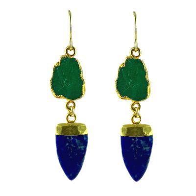 Dolcetti Raw Emerald & Lapis Arrowhead Earrings