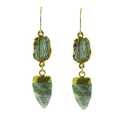 Jo Lupton Rutilated Quartz Arrowhead Earrings