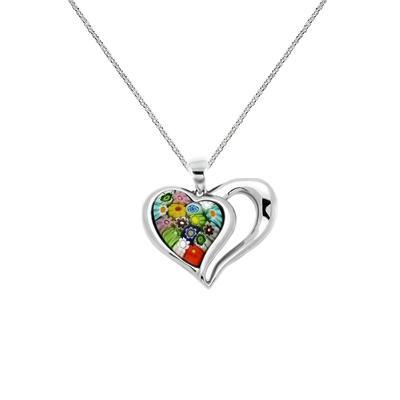 Millefiori Murano Glass Open Heart Necklace