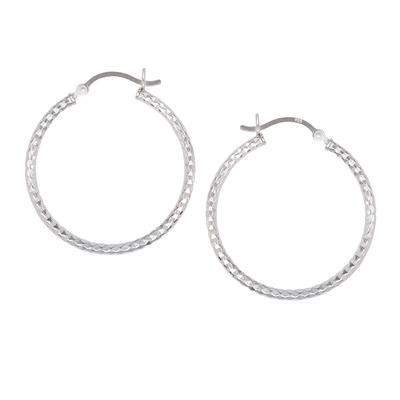 Sterling Silver Diamond Cut Hoops