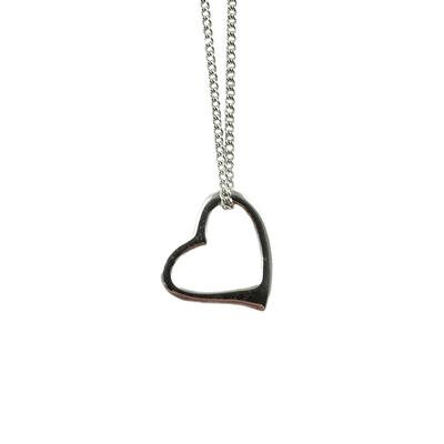 Sterling Silver Tiny Open Heart Necklace