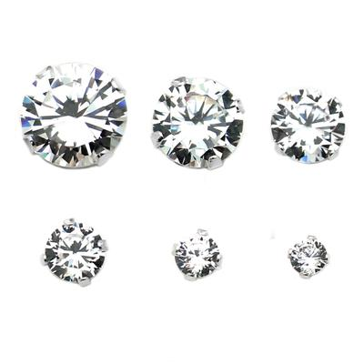 Sterling Silver Round Cz Studs