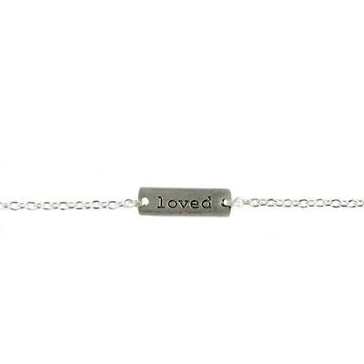 Tashi Brushed Sterling Silver Loved Tag Bracelet
