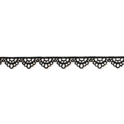 Scalloped Thin Black Lace Choker
