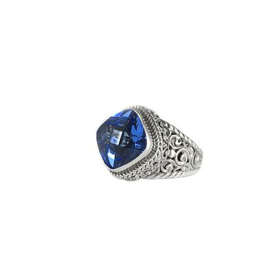 Sarda Ornate Sterling Silver & Blue Quartz Ring