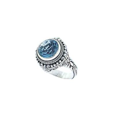 Sarda Sterling Silver & Fancy Cut Blue Topaz Ring