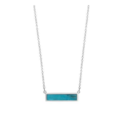 Boma Sterling Silver Blue Turquoise Bar Necklace