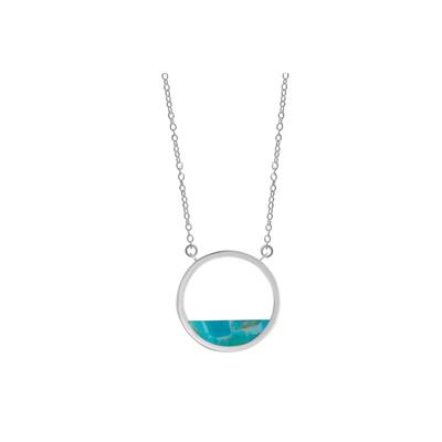 Boma Sterling Silver Blue Turquoise Open Circle Necklace