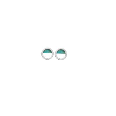 Boma Sterling Silver Blue Turquoise Open Circle Studs