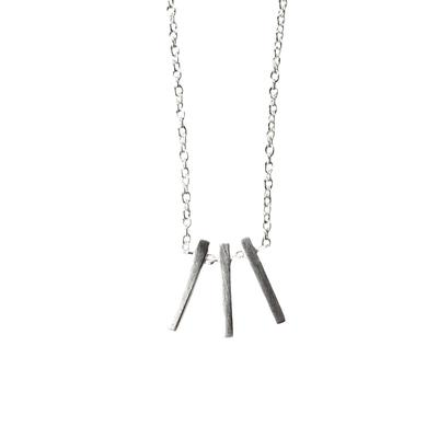 Tashi Brushed Sterling Silver Three Bar Necklace