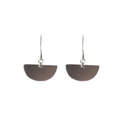 Tashi Brushed Sterling Silver Half Circle Earrings