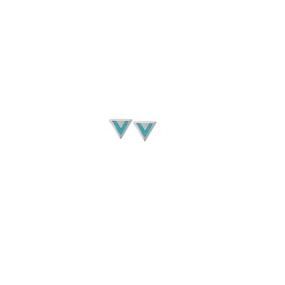 Boma Sterling Silver Blue Turquoise Triangle Studs