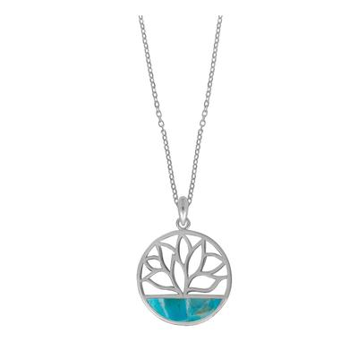 Boma Sterling Silver Blue Turquoise Lotus Cutout Necklace