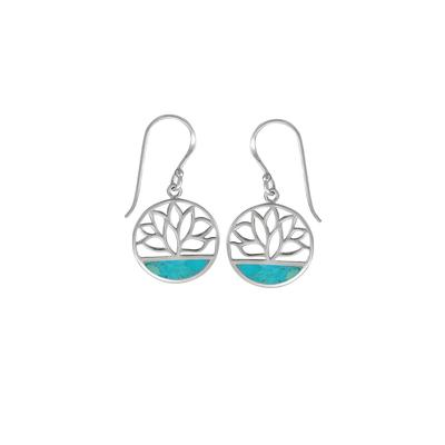 Boma Sterling Silver Blue Turquoise Lotus Cutout Earrings