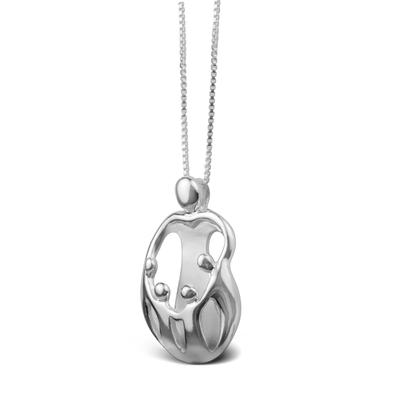 Loving Family Sterling Silver Parent & 4 Children Necklace