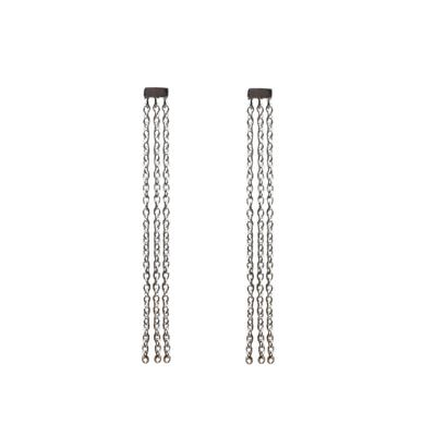 Tashi Brushed Sterling Silver Three Chain Studs