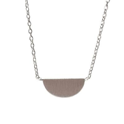 Tashi Brushed Sterling Silver Half Circle Necklace