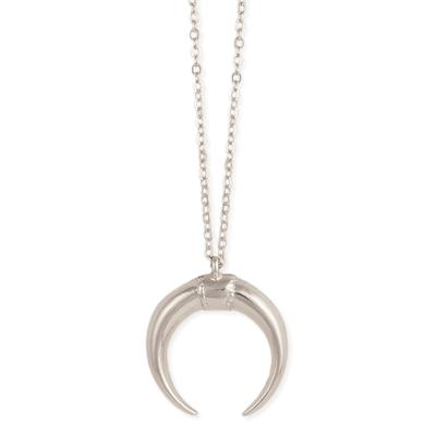 Silver Metal Horn Necklace