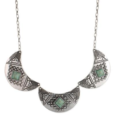 Silver Metal & Turquoise Resin Crescent Bib Necklace