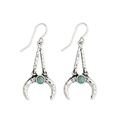 Silver Metal Horn & Turquoise Resin Earrings