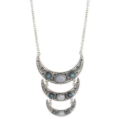 Silver Metal & Turquoise Resin Three Crescent Necklace