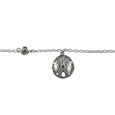 Sterling Silver Sand Dollar With Cz Anklet